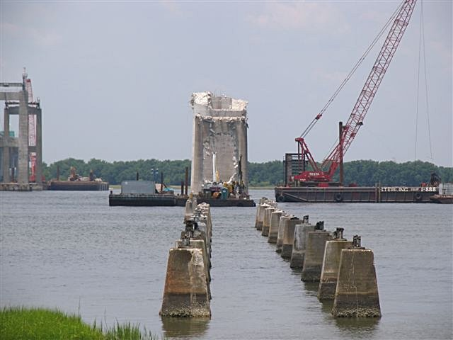 Unbuilding demolition of the grace and pearman bridges for Mt pleasant fishing pier